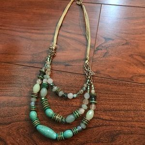 NWT Chico's Green Beaded and Cord Necklace